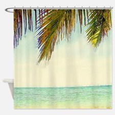 tropical sky summer beach  Shower Curtain