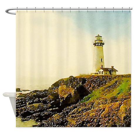 vintage coastal lighthouse shower curtain