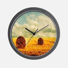 watercolor hay bale farm Wall Clock