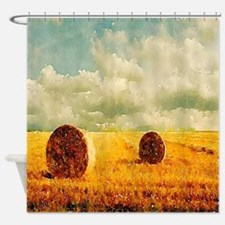 watercolor hay bale farm Shower Curtain