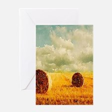 watercolor hay bale farm Greeting Cards