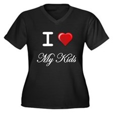 I Love My Kids White Letters Plus Size T-Shirt