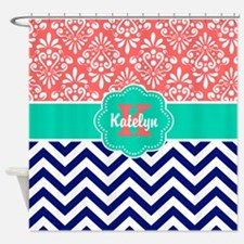 Coral Teal Chevron Damask Personalized Shower Curt
