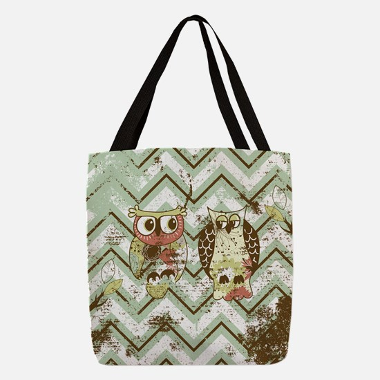 Chevron Owls #1 Polyester Tote Bag