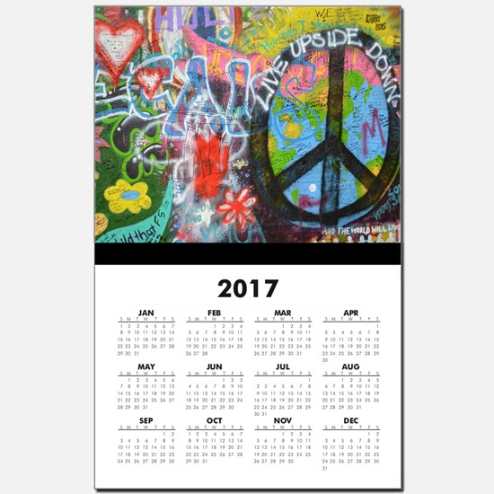 Love & Peace on the Lennon Wall Calendar Print