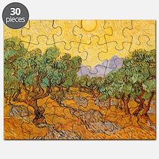 Van Gogh Olive Trees Yellow Sky Sun Puzzle