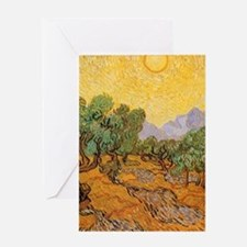 Van Gogh Olive Trees Yellow Sky Sun Greeting Cards