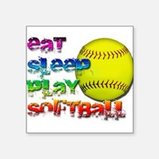 "Cute Women softball Square Sticker 3"" x 3"""