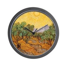 Van Gogh Olive Trees Yellow Sky Sun Wall Clock