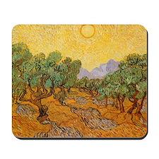 Van Gogh Olive Trees Yellow Sky Sun Mousepad