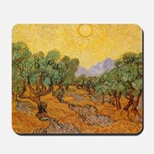 Van Gogh Olive Trees Yellow Sky Sun Mousepad