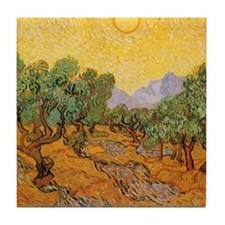 Van Gogh Olive Trees Yellow Sky Sun Tile Coaster