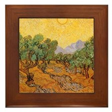 Van Gogh Olive Trees Yellow Sky Sun Framed Tile