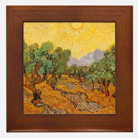 Van Gogh Olive Trees Yellow Sky Sun Framed Tile