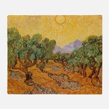 Van Gogh Olive Trees Yellow Sky Sun Throw Blanket