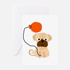Pug Dog with Balloon Greeting Cards
