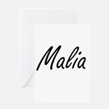 Malia artistic Name Design Greeting Cards