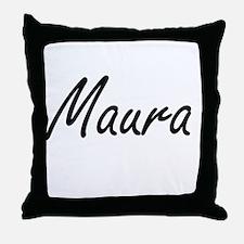 Maura artistic Name Design Throw Pillow