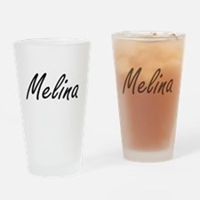 Melina artistic Name Design Drinking Glass