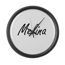 Melina artistic Name Design Large Wall Clock
