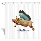 Believe flying pig Shower Curtains