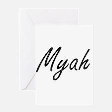 Myah artistic Name Design Greeting Cards