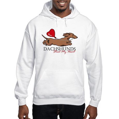 Hooded Sweatshirt w/ Longhair Piebald Dachshund