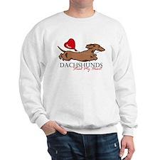 Sweatshirt w/ Longhair Piebald Dachshund