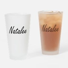 Natalee artistic Name Design Drinking Glass