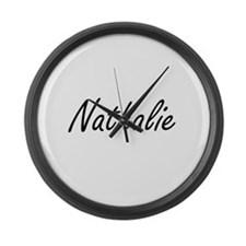 Nathalie artistic Name Design Large Wall Clock