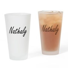 Nathaly artistic Name Design Drinking Glass