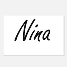 Nina artistic Name Design Postcards (Package of 8)