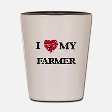 I Love MY Farmer Shot Glass