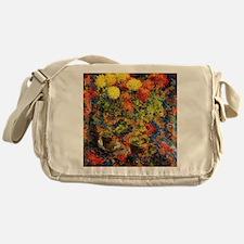 Chrysanthemums on an Oriental Carpet Messenger Bag