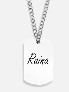 Raina artistic Name Design Dog Tags