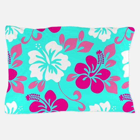 Cyan-magenta-white Hawaiian hibiscus Pillow Case
