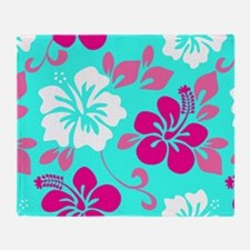 Cyan-magenta-white Hawaiian hibiscus Throw Blanket