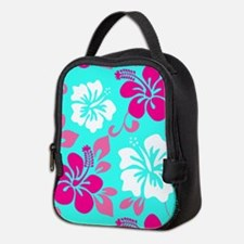 Cyan-magenta-white Hawaiian hib Neoprene Lunch Bag