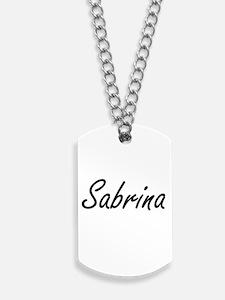 Sabrina artistic Name Design Dog Tags