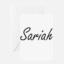 Sariah artistic Name Design Greeting Cards