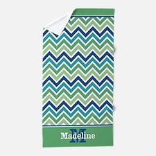 Monogram Name Blue Green Chevron Beach Towel