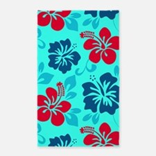 Cyan-red-navy Hawaiian hibiscus Area Rug