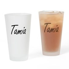 Tamia artistic Name Design Drinking Glass