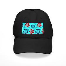 Cyan-red-navy Hawaiian hibiscus Baseball Hat