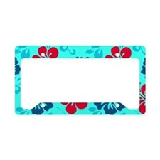 Cyan-red-navy Hawaiian hibisc License Plate Holder