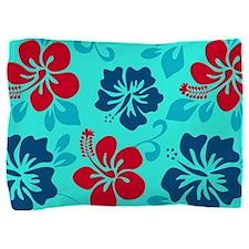 Cyan-red-navy Hawaiian hibiscus Pillow Sham