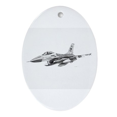 F-16 Pencil Prints by RKSmith Oval Ornament