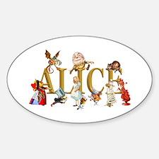Alice and Friends in Wonderland, in Sticker (Oval)