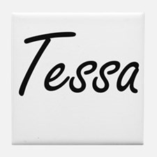 Tessa artistic Name Design Tile Coaster