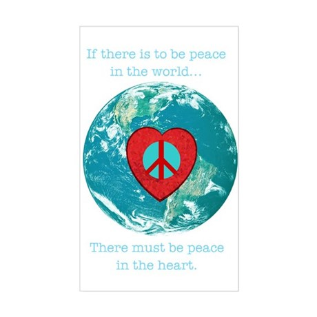 World Peace Heart Rectangle Sticker